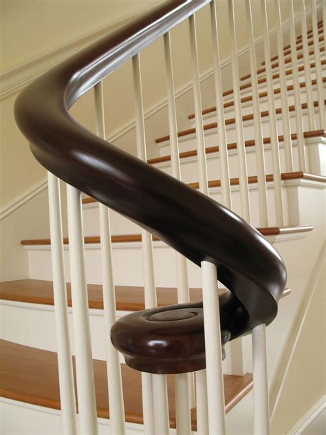 Mahogany Banister by Made Mahogany Continuous Shaped Curved Rail By