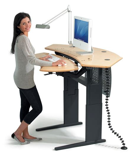 Standing Desk Computer dual surface flexo standing desk with motorized or crank adjustment biomorph adjustable