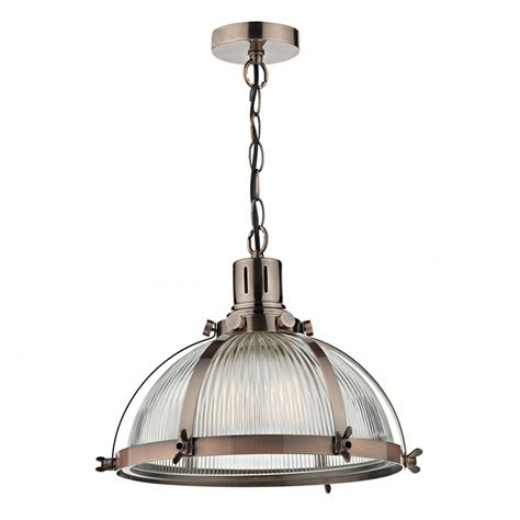 Glass Ceiling Light Vintage Hanging Ceiling Pendant With Ribbed Glass Shade Copper Frame