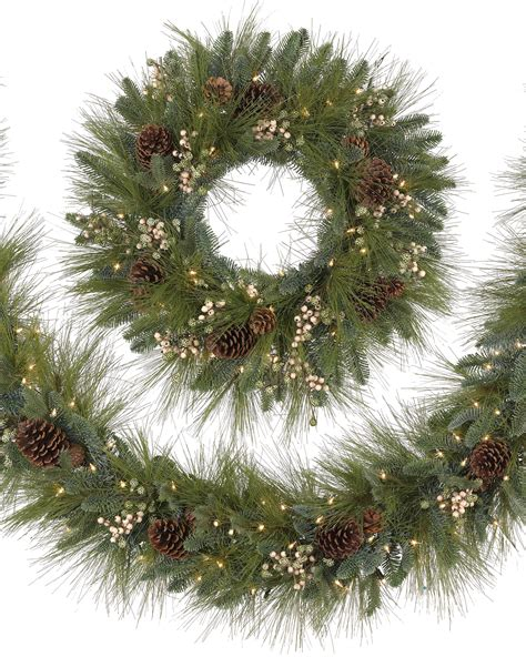 best xmas lighted garlands 100ft harvest pine wreath and garland treetopia