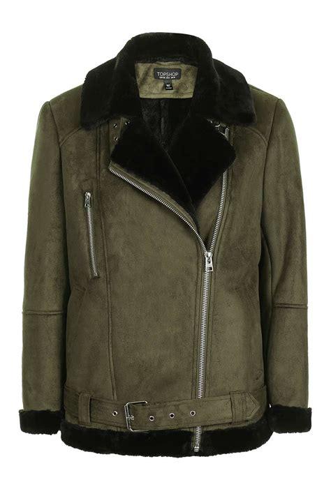 biker jacket faux shearling biker jacket topshop