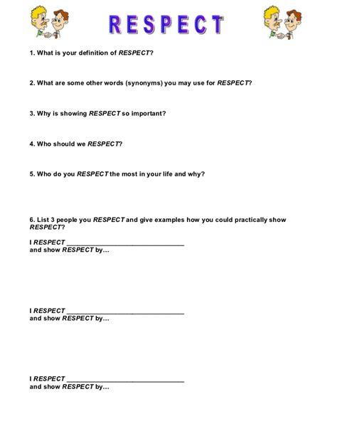 printable worksheets on respect respect worksheet