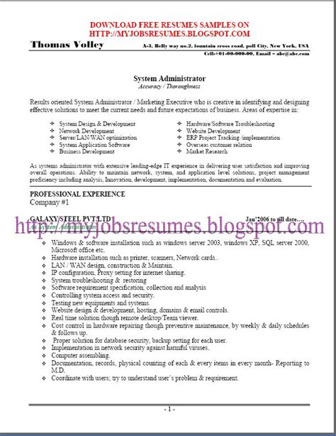 System Administrator Resume Exles by Fresh And Free Resume Samples For Free Resume Sle For System Admin It