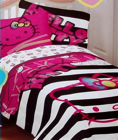hello kitty neon pink black white full size comforter