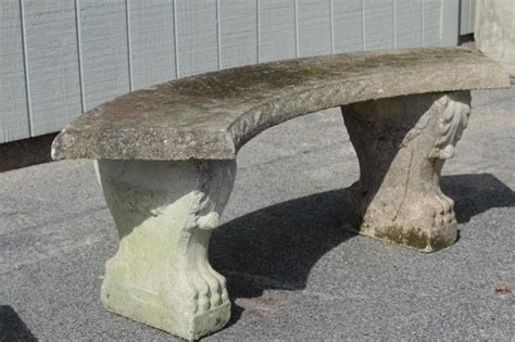 concrete curved bench 2 vintage concrete curved garden benches