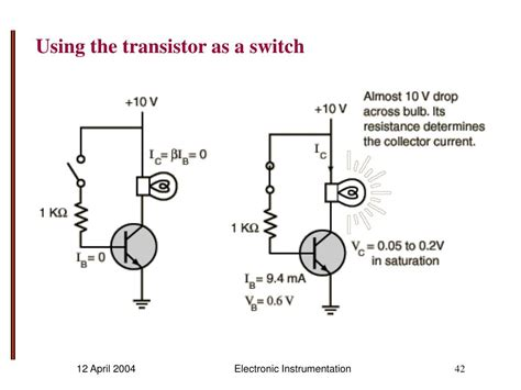 transistor used as a switch ppt experiment 10 powerpoint presentation id 532410