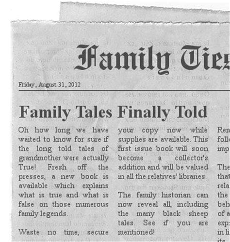 create your own newspaper story familytree com