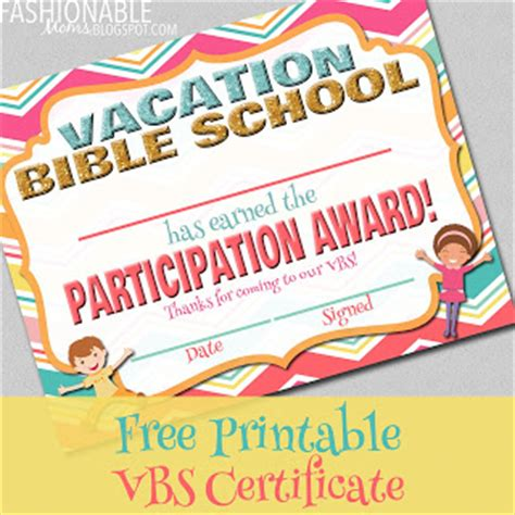 vbs certificate template my fashionable designs free printable vacation bible