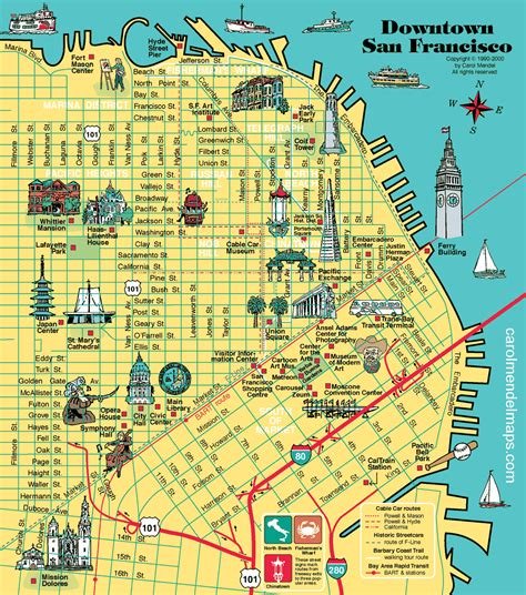 sf district map map of downtown san francisco with pictorial illustrations