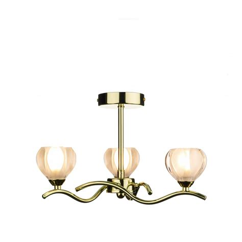 Cyn0340 Cynthia 3 Light Modern Ceiling Light Polished Brass Ceiling Lights