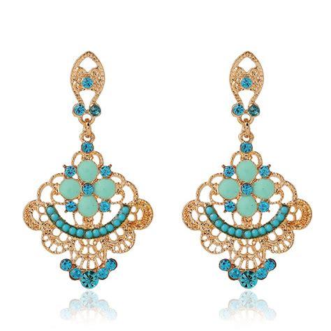 Inexpensive Chandelier Earrings Blue Rhinestone Bridesmaid Jewelry Chandelier Turquoise Earrings
