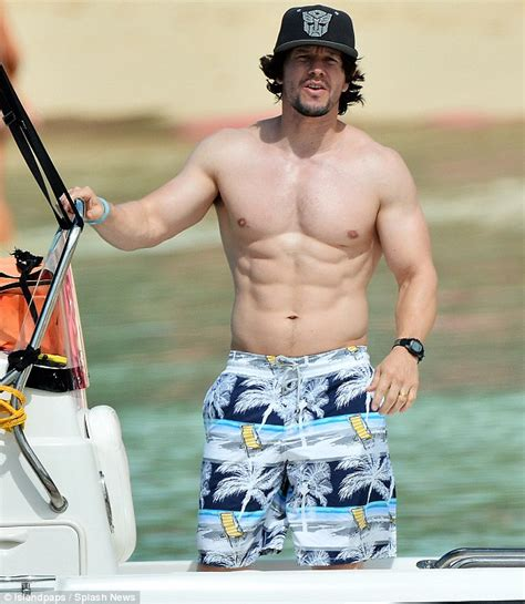 mark wahlberg spotted on the beach in barbados with his wife