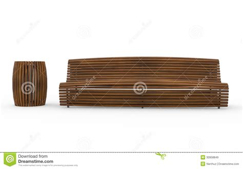 bench can bench and trash can royalty free stock images image 30958849