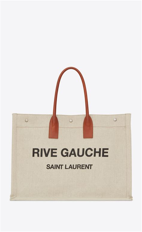 Ysl Rive Gauche Tote by Laurent Rive Gauche Tote Bag In Beige Linen And