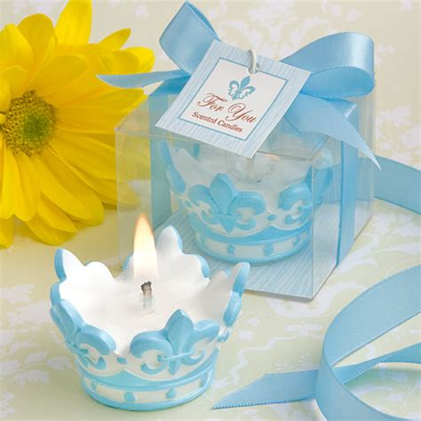 Crown Baby Shower Favors 75 blue crown design scented candle christening baby