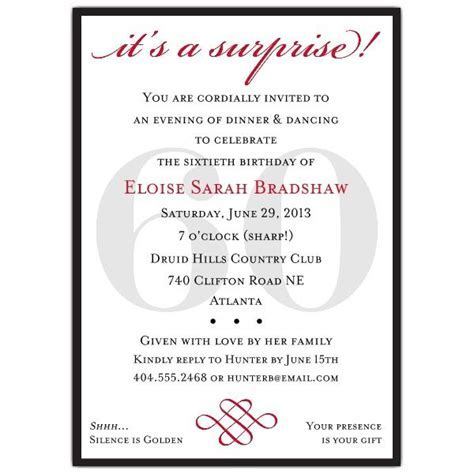 Classic 60th Birthday Red Surprise Invitations   Party