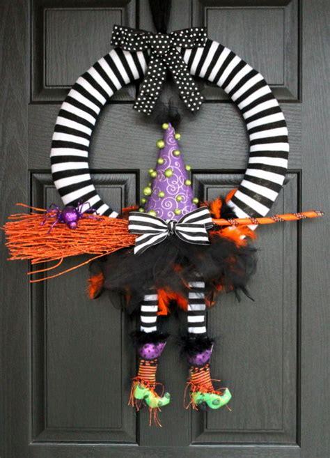 halloween wreath cute diy witch wreath tutorials ideas for halloween hative