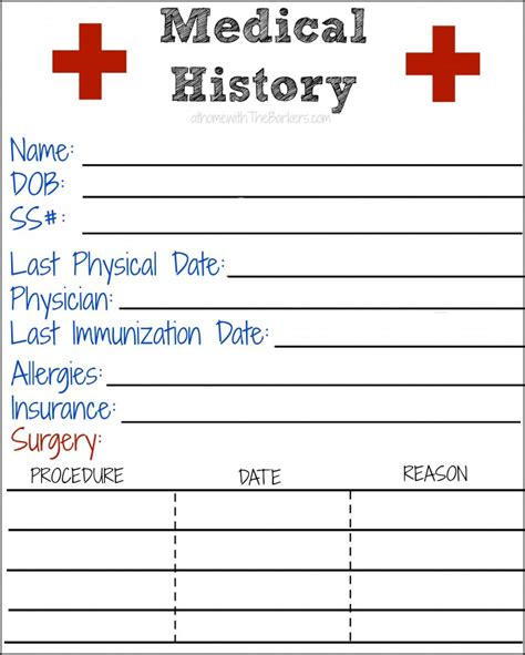free printable medical id cards medical history free printable medical history free