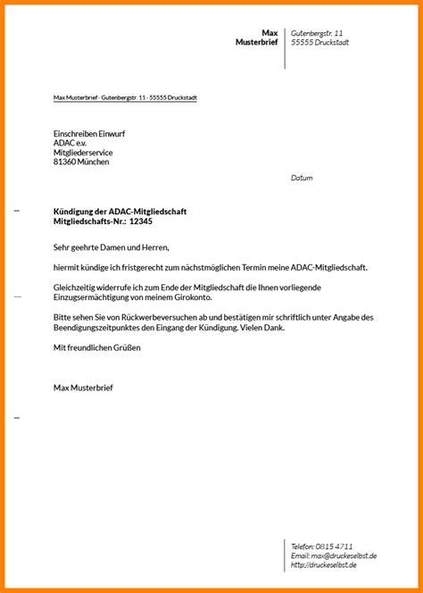 Adac Kfz Versicherung Per Email K Ndigen by 12 K 252 Ndigung Schreiben Avant Trash