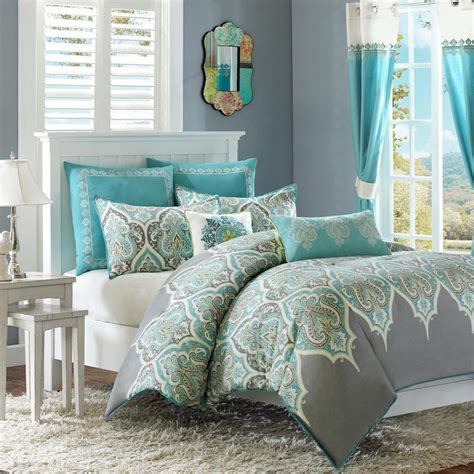grey blue comforter set beautiful cotton tropical beach ocean teal aqua blue grey