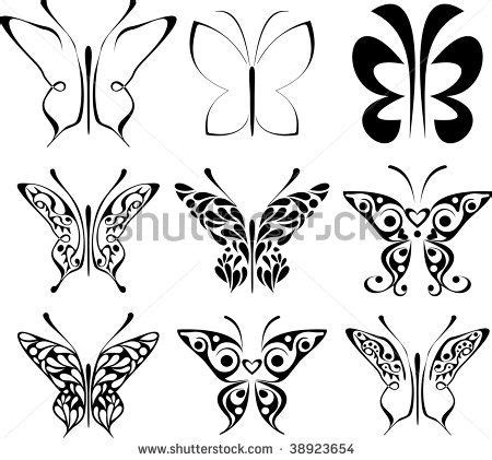 butterfly patterns to trace set of stylized tattoo