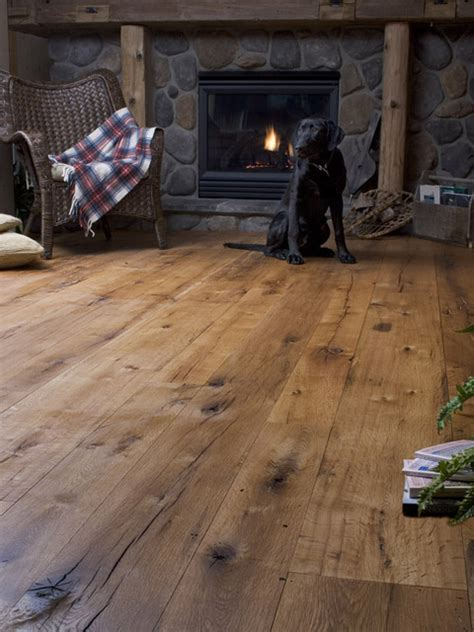 Rustic Wide Plank Flooring Antique Oak Random Width Rustic Living Room New York