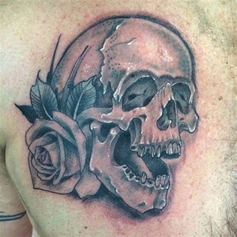 tattoo eagle point oregon black and gray skull with rose tattoo tattooed by josh