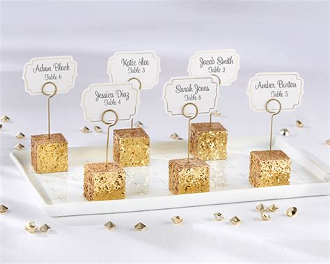 gold table card holders gold glitter placecard holders set of 6 kate aspen