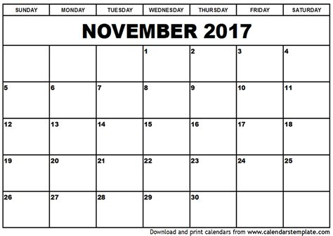 Calendar Nov 2017 November 2017 Calendar With Us Holidays