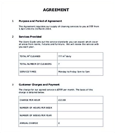 customer contract template service level agreement template and points to understand