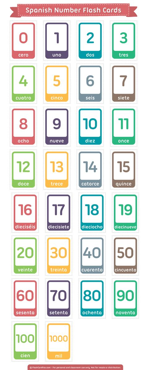printable number flashcards in spanish free printable spanish number flash cards for learning to