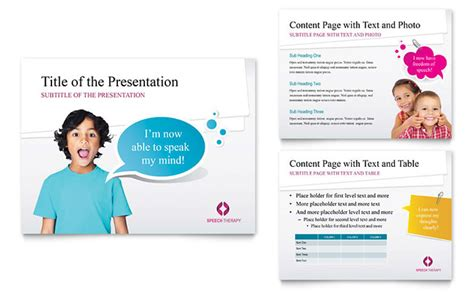 Speech Therapy Education Powerpoint Presentation Template Speech Powerpoint Template