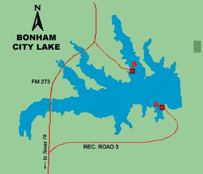 bonham map access to bonham city lake