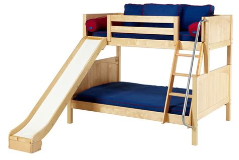 twin bed with slide natural twin over full bunk bed w slide by maxtrix kids 840