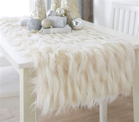 white fur table runner 19 white winter tablescapes for shelterness