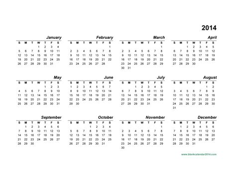 printable calendar 2014 yearly 14 full 2014 year calendar template images printable