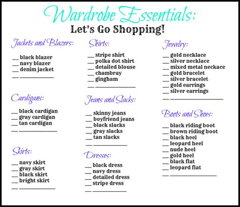 wardrobe checklist template my new favorite putting all the pieces together