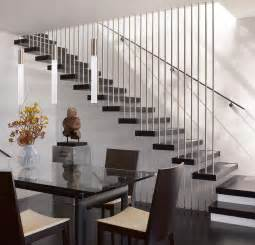 Modern Stairs Design Indoor Magnificent Iron Railings For Modern Stairs With Wood Tile Steps Also Hanging Lights