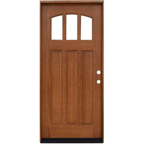 Steves And Sons Interior Doors Steves Sons 36 In X 80 In Craftsman 3 Lite Arch Stained Mahogany Wood Prehung Front Door