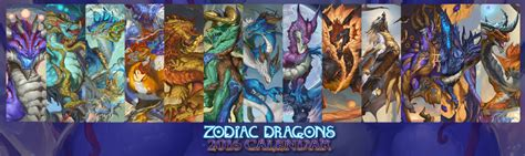 Leaf Harvest Horoscope Series 2016 zodiac dragons calendar series weasyl