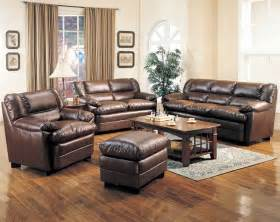 Leather Livingroom Set by Leather Living Room Set In Brown Sofas