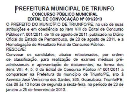 lista de aprovados concurso abaetetuba prefeitura municipal opini 195 o triunfo convocados os aprovados em concurso