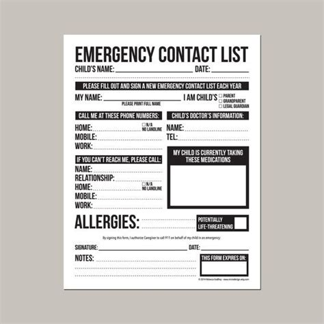 daycare information sheet template emergency contact form for nanny or daycare