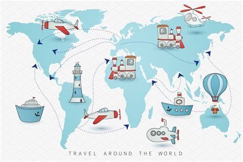 travel icons   world map illustrations creative