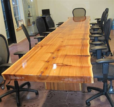 Live Edge Reclaimed Cedar Slab Conference Table By
