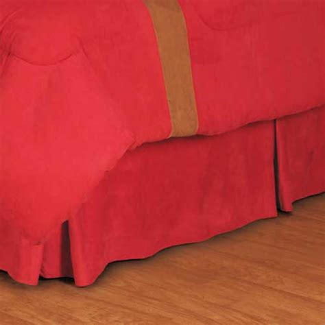 red bed skirt microsuede red pleated bed skirt