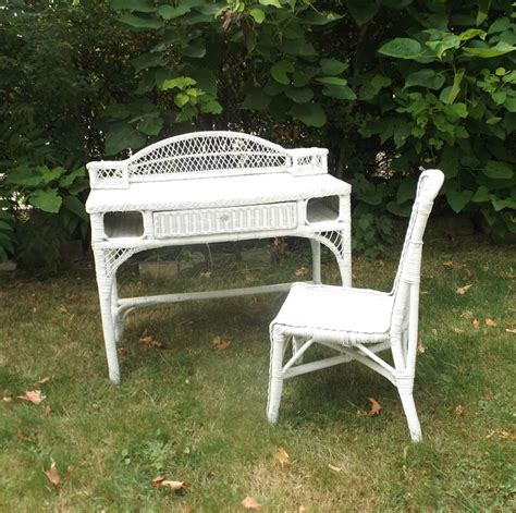vintage 1980 s white wicker desk chair by recyclebuyvintage