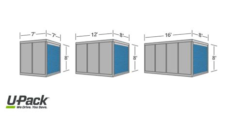minimum size for moving between furniture in every room pods 174 container sizes comparison u pack