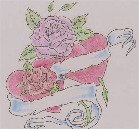 rose tattoo desing roses with banner drawing