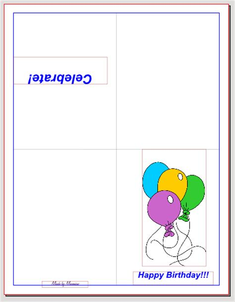 quarter fold birthday card template custom card template 187 card folding templates free card